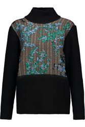 Marni Paneled Wool Silk And Cashmere Blend Turtleneck Sweater Black