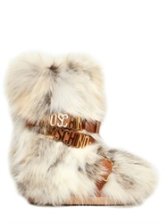 Moschino Fox Fur And Leather Snow Boots