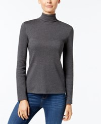 Charter Club Turtleneck Top Only At Macy's Charcoal Heather
