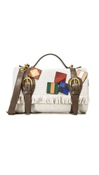 Tory Burch Wool Mini Blanket Duffel Bag Grey