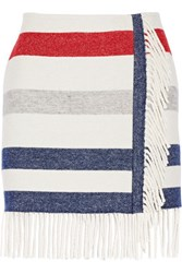 Paul And Joe Titane Striped Wool Blend Mini Skirt Ivory