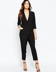 Asos Tuxedo Jumpsuit With Wrap Front And Long Sleeves Black