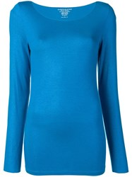 Majestic Filatures Long Sleeve Fitted Sweater Blue