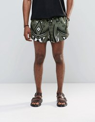 Jaded London Retro Shorts With All Over Kaleidoscope Print Green