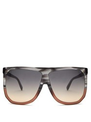 Loewe Filipa Oversized Flat Top Acetate Sunglasses Grey