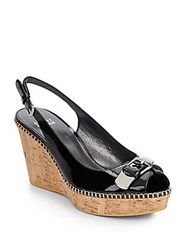 Stuart Weitzman Chatroom Patent Leather Slingback Wedge Sandals Black