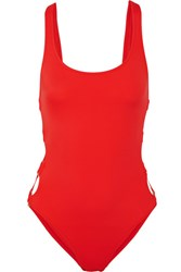 Solid And Striped The Jennifer Cutout Swimsuit Red