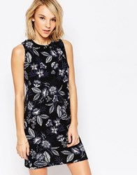 Daisy Street Shift Dress With Cross Back In Floral Print Blackfloral