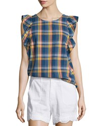 Mih Jeans Caval Butterfly Sleeve Plaid Top Plaid