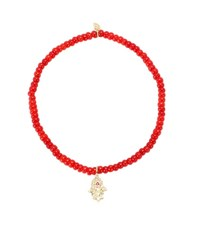 Sydney Evan Baby Hamsa Beaded Bracelet With 14Kt Yellow Gold Charm Diamonds And A Ruby Red