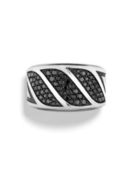 David Yurman The Graphic Cable Black Diamond And Sterling Silver Band Ring