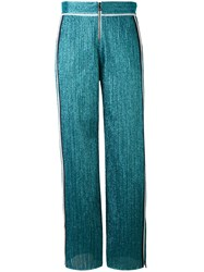 Aviu Lurex Side Stripe Trousers Women Cotton Polyamide Polyester Spandex Elastane 44 Blue