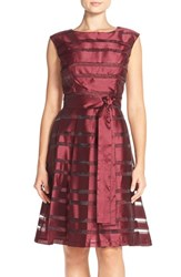 Women's Chetta B Pleated Shadow Stripe Fit And Flare Dress