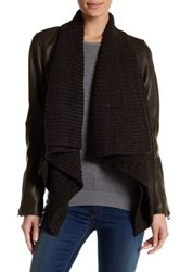 Lucky Brand Knit Trim Genuine Leather Jacket Brown