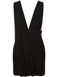 Anthony Vaccarello Draped Mini Dress Black