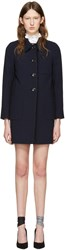 Miu Miu Navy Wool Ruffle Coat