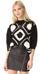 Mcq By Alexander Mcqueen Crochet Square Top Black White