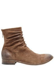 The Last Conspiracy Wrinkled Washed Leather Ankle Boots Brown