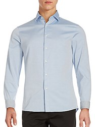 Michael Kors Solid Cotton Button Down Shirt Light Blue