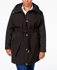 Michael Michael Kors Plus Size Hooded Belted Trench Coat Black