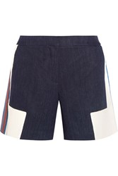 Zeus Dione Iris Embroidered Linen Chambray Shorts Navy