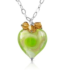 House Of Murano Vortice Lime Murano Glass Swirling Heart Sterling Silver Necklace