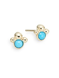 Anzie Dew Drop Turquoise And 14K Yellow Gold Stud Earrings Gold Turquoise