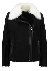 Karl Lagerfeld Leather Jacket Black White