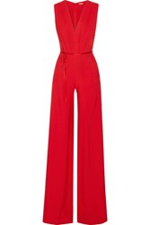Adam By Adam Lippes Belted Pleated Crepe Jumpsuit Crimson