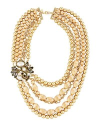 Lydell Nyc Two Tone Multi Row Statement Necklace
