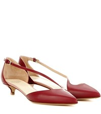 Francesco Russo Patent Leather Kitten Heel Pumps Red