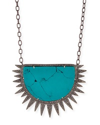 Turquoise Diamond Half Sun Pendant Necklace Siena Jewelry