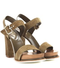 Tod's Suede Sandals Green
