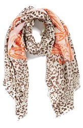 Women's La Fiorentina Mixed Print Wool Scarf Coral Peach