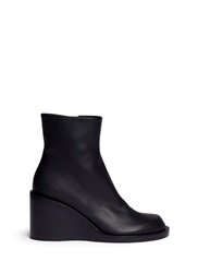 Ann Demeulemeester Leather Wedge Ankle Boots Black