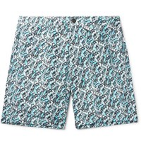 Onia Mid Length Printed Swim Shorts Blue