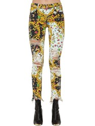 Versace Archive Print Destroyed Skinny Jeans Multicolor