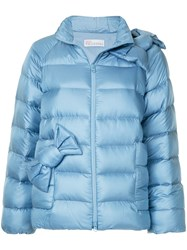 Red Valentino Bow Detail Puffer Jacket Blue