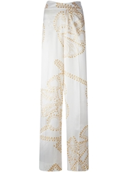 Agnona Printed Wide Leg Trousers White