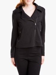 Max Studio Textured Knit Biker Jacket Black