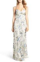 Jenny Yoo Women's Julianna Embroidered Gown Blue Agate