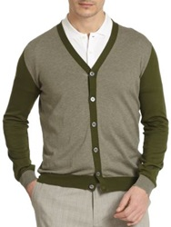 Slowear Colorblock Cardigan Green