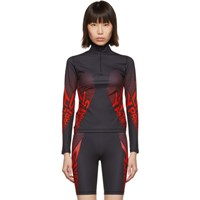 Givenchy Black And Red Neoprene Zip Up Sweater