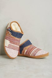 Anthropologie Lani Embroidered Cozy Slippers Honey