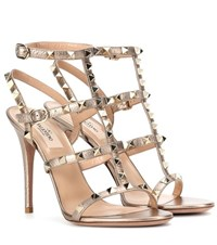 Valentino Garavani Rockstud Leather Sandals Metallic