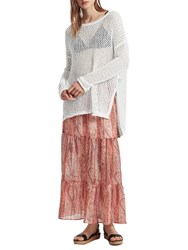 French Connection Malika Sheer Paisley Maxi Skirt Apricot Multi