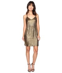Brigitte Bailey Shawn Spaghetti Strap Shimmer Dress Gold Women's Dress