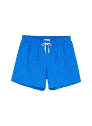 Danward 'Capri' Rectangle Embroidered Swim Shorts Blue