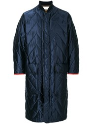 Reality Studio Long Quilted Coat Polyamide Blue