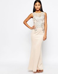 Michelle Keegan Loves Lipsy Foil Lace Applique Maxi Dress Nude Pink